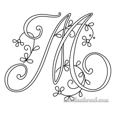 Monograms for Hand Embroidery: Delicate Spray M, N, O