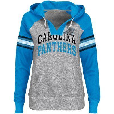 Carolina Panthers Ladies Huddle III Pullover Hoodie - Steel/Panthers Blue