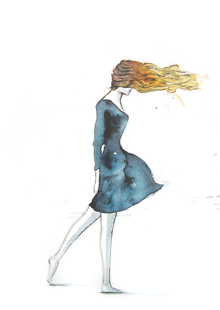 Figurin moda. viento. vestido azul. Acuarela