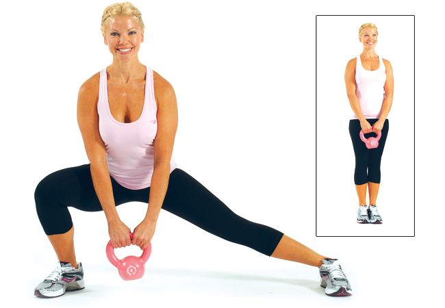 Side lunges with kettlebell   Target your inner and outer thighs