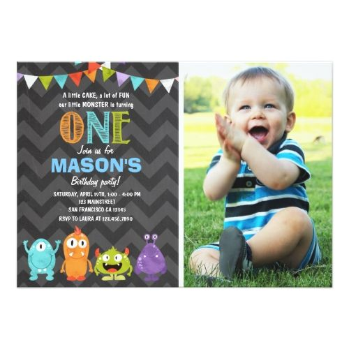 120 best boys 1st birthday party invitations images on pinterest boys 1st birthday party little monster birthday party invitation chalk stopboris Images