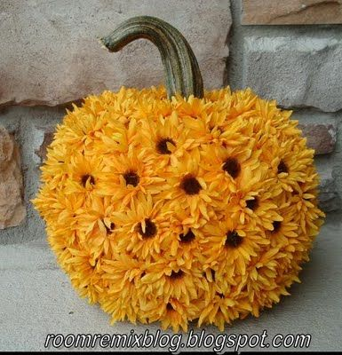 Flower-covered pumpkin: Pumpkin Decoration, Pumpkin Ideas, Holiday, Fall Decor, Halloween Pumpkins, Sunflower Pumpkin, Delicious Ambiguity, Crafts, Carve Halloween