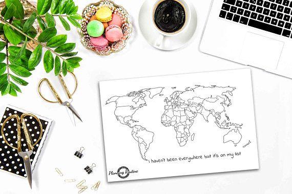 Wereld kaart Stickers, wereld Planner Stickers, kaart van de wereld, kaart van de wereld-Stickers