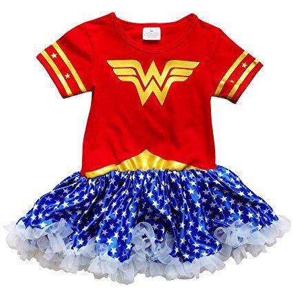 So Sydney Toddler Girls Superhero Wonder Woman T-Shirt Dress Tutu Skirt Costume (XS (2T), Wonder Woman Red & Blue)