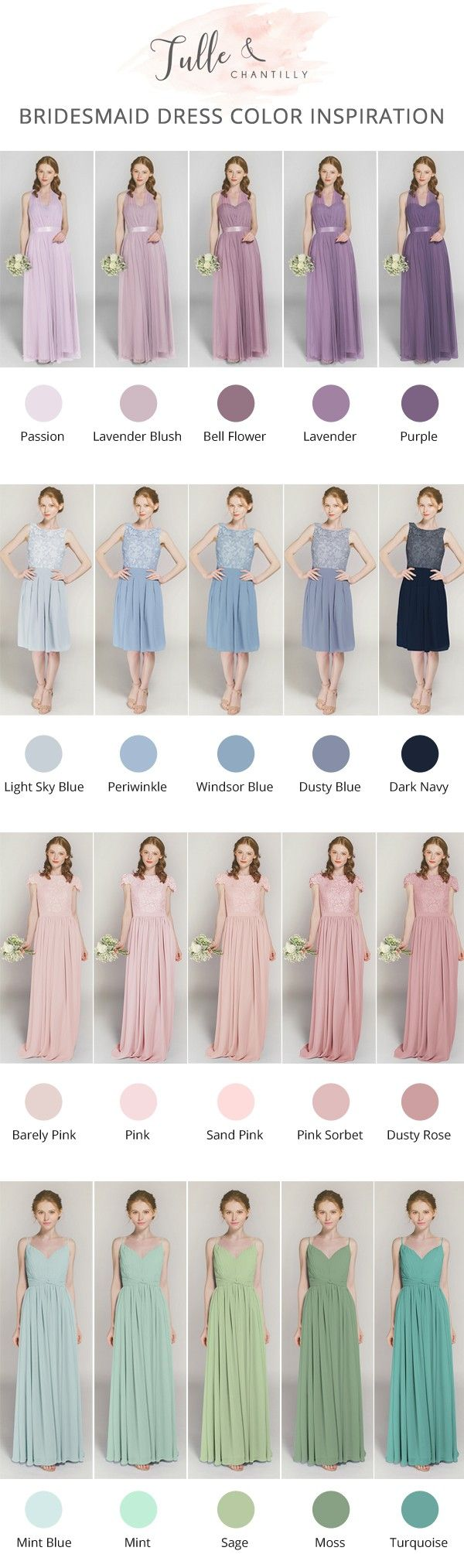 shades of pink, purple, blue and green bridesmaid dress  color inspiration