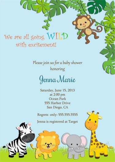 Jungle Baby Shower Invitation Zoo Safari Giraffe