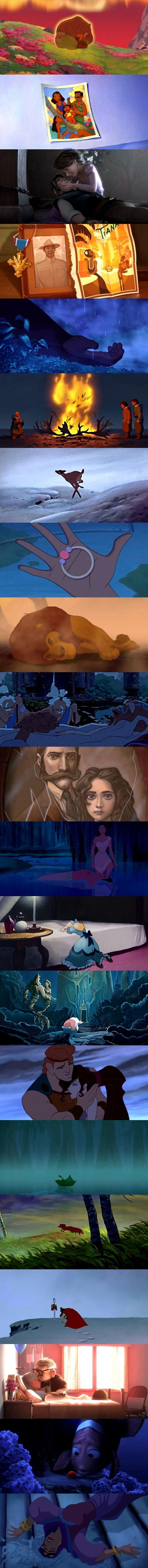 Disney deaths created so simply but tragically, giving us a sharp taste of reality and sadness in the joyful movies. ALLL THE FEEEEEEELLLLSSS