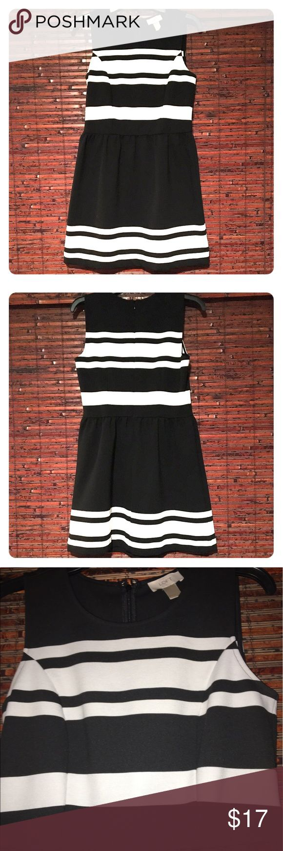 FLASH SALE ⚡️Business Casual Dress Black dress with white stripes! Super cute and business professional dress by Loft. Gently used and in perfect condition. ❤ LOFT Dresses
