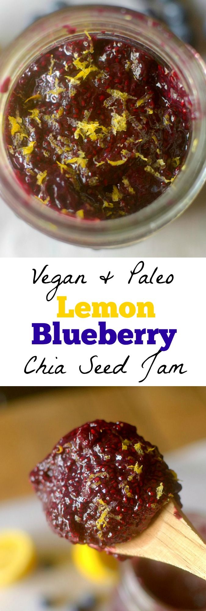 Healthy Lemon Blueberry Chia Seed Jam is an easy, refreshing summer jam recipe that can be made in less than 20 minutes w/ only 4 ingredients! Vegan + Paleo