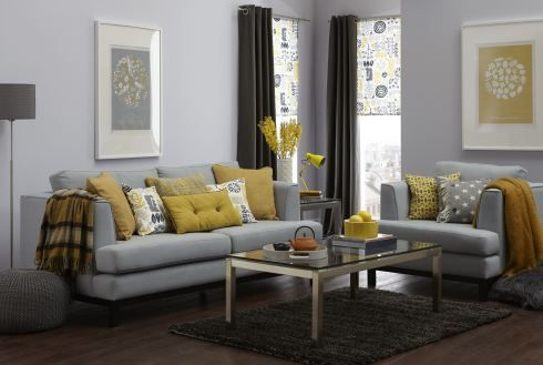 Yellow and grey living room scheme (via www.thetreasurehunteruk.com homes and shopping blog)