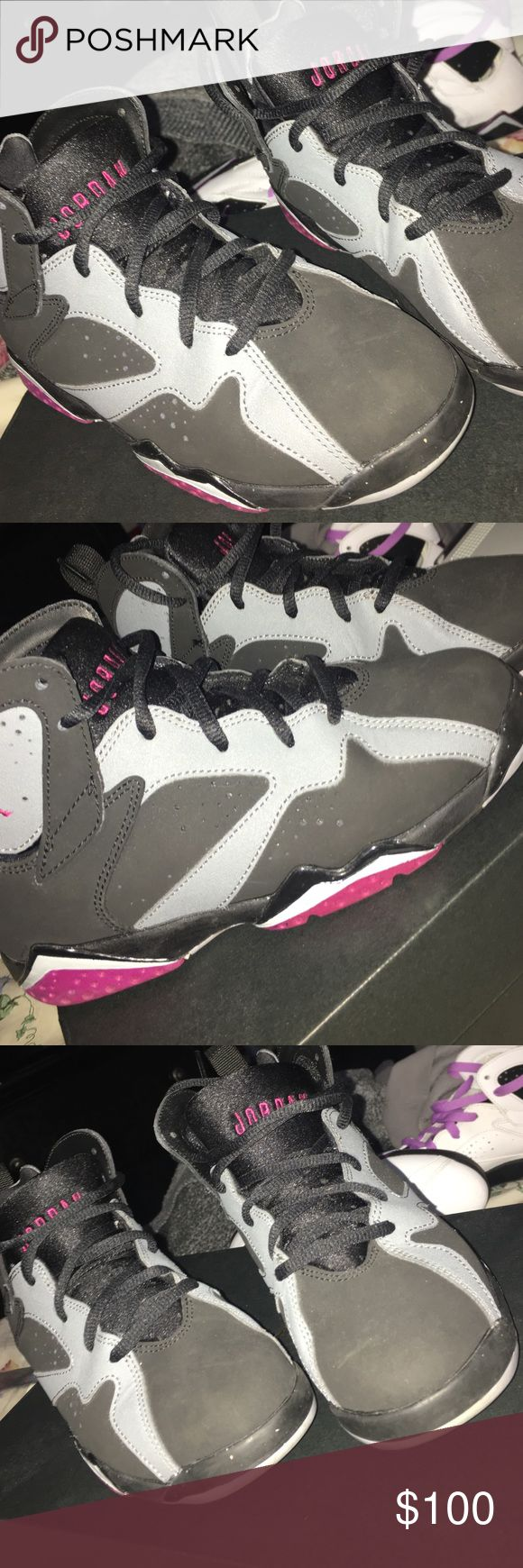 Jordan , retro  7 fuchsia Black grey used 2 times only , almost brand new , they are authentic Jordan Shoes Sneakers