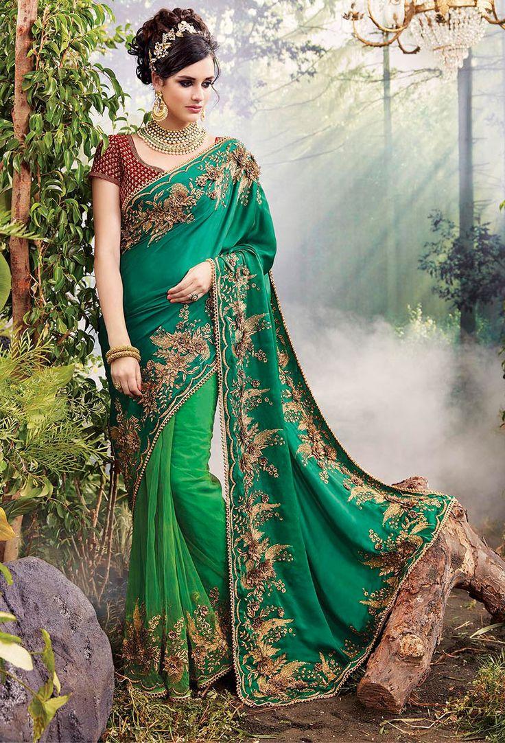Green Silk,#Net #Party Wear #Saree #nikvik  #usa #designer #australia #canada #freeshipping