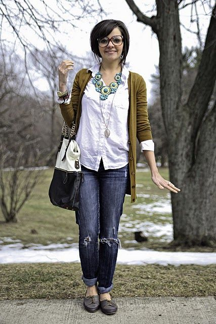 .: Easy Outfit,  Blue Jeans, Style, Outfit Inspiration, White Shirts, Jeans Inspiration, Boyfriends Jeans, Adorable Outfit, Chunky Necklaces