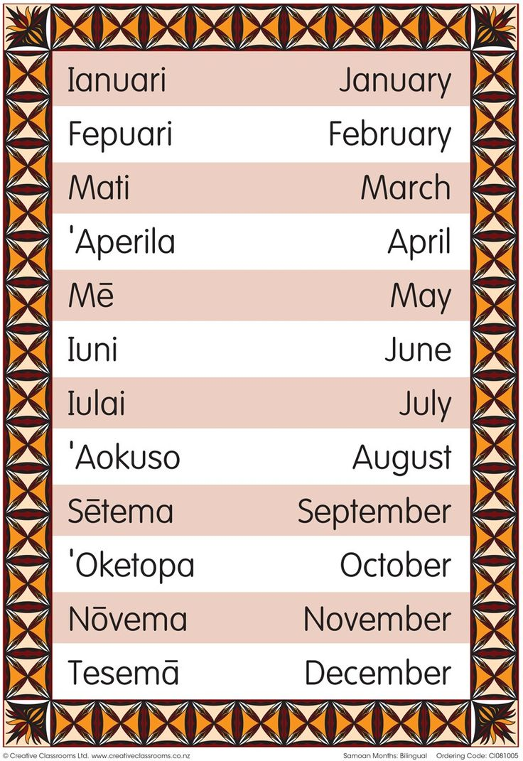 Months of the Year Samoan Bilingual Chart | Pasifika Resources