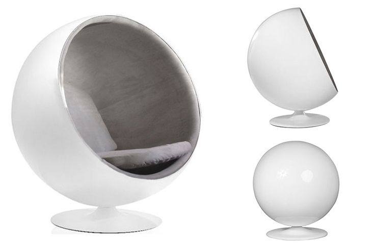 Fauteuil BOULE Ball Chair Blanc/Gris