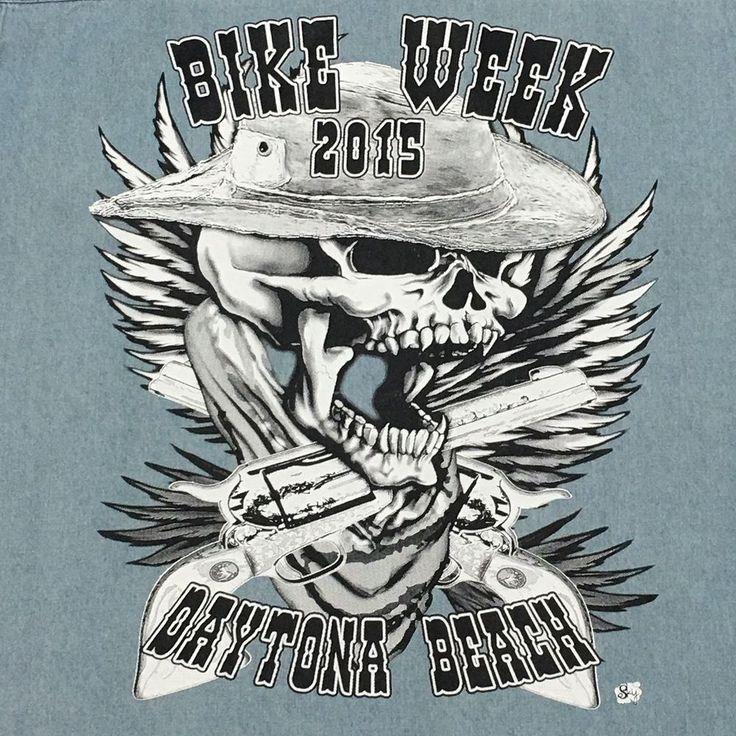 Bikers World Chambray Sleeveless Shirt Large Daytona Bike Week 2015 Graphic  #BikersWorld #ButtonFront