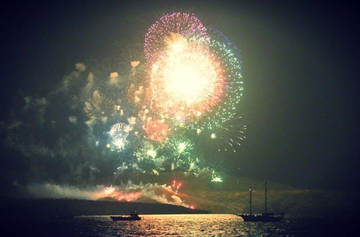 Ifestia Festival fireworks in August, the annual tribute to the island's volcano that never sleeps!