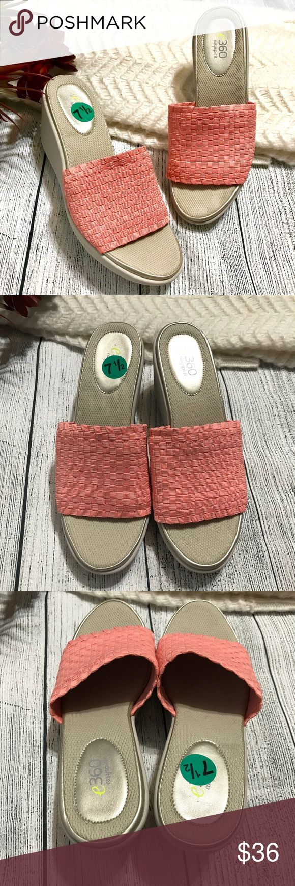 "Easy Spirit Harvey Peach Slip-on Wedge Sandals New Easy Spirit Harvey Peach Slip-on Wedge Sandals New  New without box; Heel ht. 3"" Sz 7.5M Textile Upper  Textile lining  Balance Manmade  Item#RMW040909 Easy Spirit Shoes Sandals"