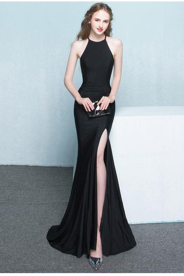 Beautiful Long Front Split Prom Dresses,Charming Simple Cheap