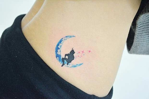 Small Watercolor Peter Pan Tattoo Idea