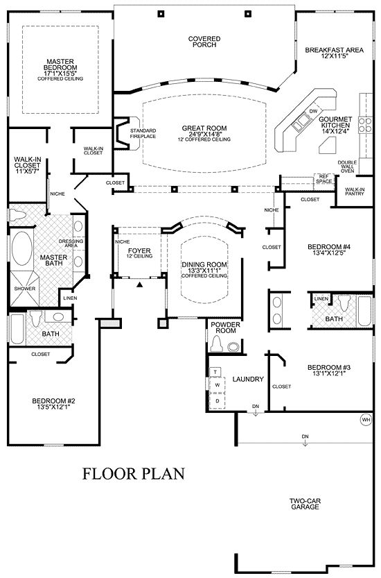 22 best house plans images on pinterest house floor for Single story open floor plans