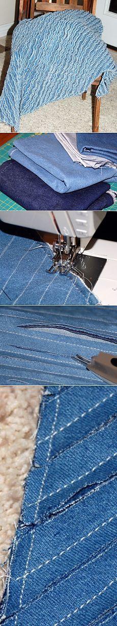 Джинсовый коврик в технике синель легко и просто