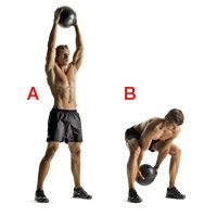 2. Woodchopper  Stand with your feet just beyond shoulder-width apart. With your arms nearly straight, hold a medicine ball above your head [A]. Now bend forward at your waist and mimic throwing the ball backward between your legs—but hold onto the ball the entire time [B]. Quickly reverse the movement with the same intensity, and return to the starting position. That's 1 repetition.