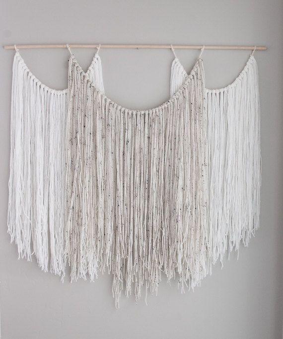 Large wall hanging tapestry yarn macrame by Thoseindiemommies
