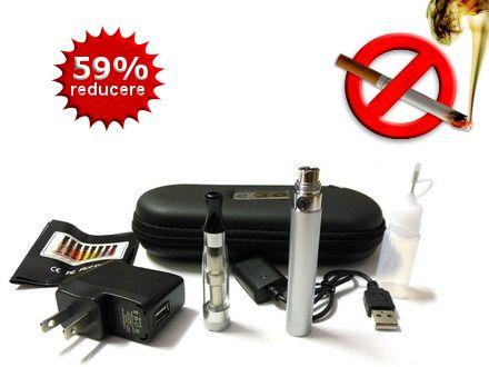 Profita de reducere si incearca sa renunti la fumat cu ajutorul Kit-ului dublu eGo T CE4 cu baterii 600mAh! BONUS: 2 sticlute e-lichid 10ml! - Dream Deals