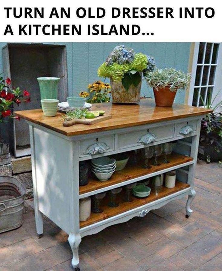 Shabby Chic Kitchen Island: Turn An Old Dresser Into A Kitchen Island.