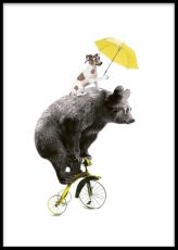 Barntavlor och barnposters med djur. En björn på cykel med en hund som hänger med. Rolig tavla till barnrummet.