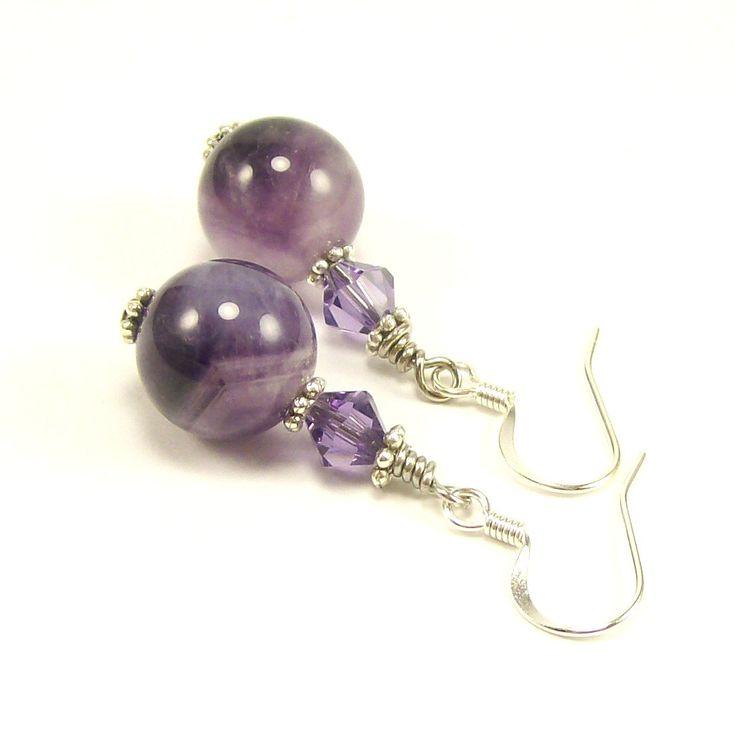 Chevron Amethyst Gemstone Jewelry Earrings, Swarovski Crystal Earrings, Purple Earrings, Handmade Jewelry, Beaded Jewelry, Swarovski Jewelry. $18.00, via Etsy.