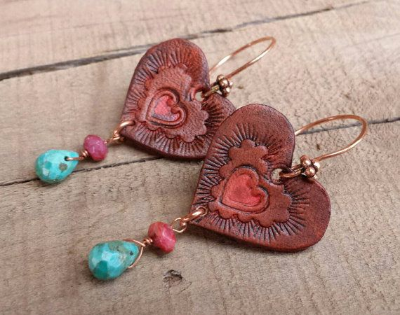 Hey, I found this really awesome Etsy listing at https://www.etsy.com/listing/217701904/hand-tooled-leather-earrings-heart