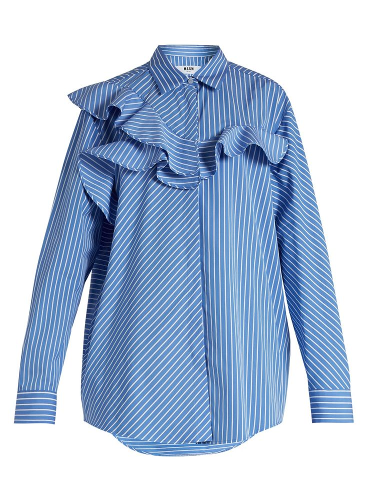 Ruffle-trimmed striped cotton shirt | MSGM | MATCHESFASHION.COM