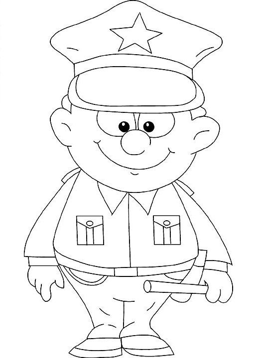 Policeman Coloring Pages Preschool Imprimibles Pinterest