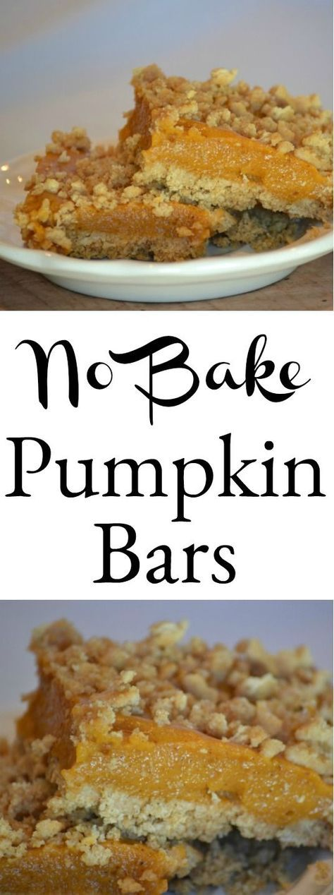 No oven needed for these delicious pie like no bake pumpkin bars. They are a perfect addition to the Thanksgiving dessert table #pumpkinbars #thanksgivingdesserts #pumpkinpie #dessert