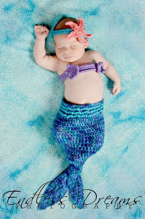 PDF Crochet Mermaid Tail Photo Prop Set - 3 Patterns in 1 - Newborn to 3 Months - Permission To Sell Finished Items - Photography Prop. $4.95, via Etsy.