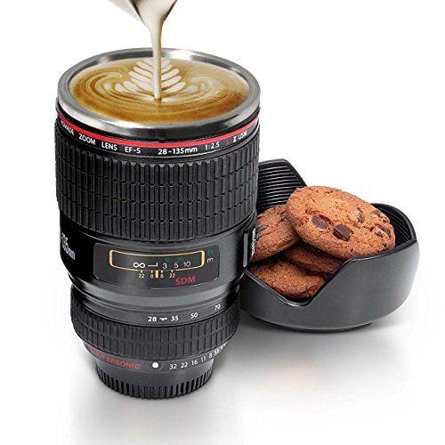Cortinas De Baño Geek:Twitfish® – Taza lente cámara de fotos con interior de acero