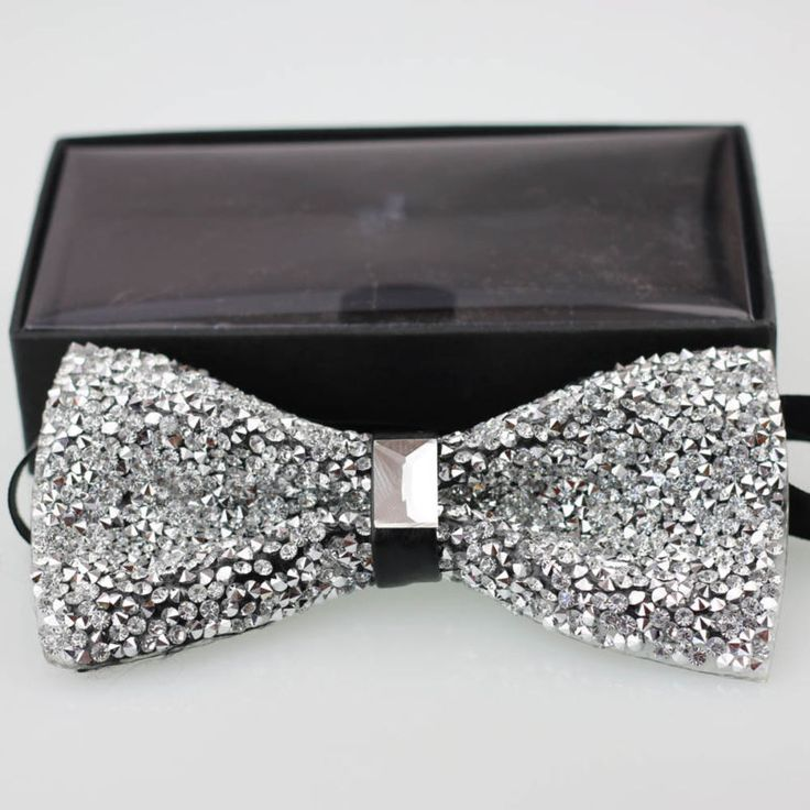 Yibei Tie Stylish Glitter Rhinestone Bowtie Sparkle Adult Tuxedo Bow tie Novelty