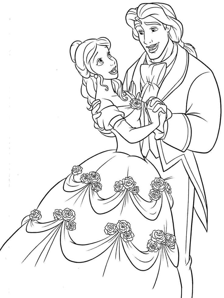 beauty and the beast coloring pages Printable Free