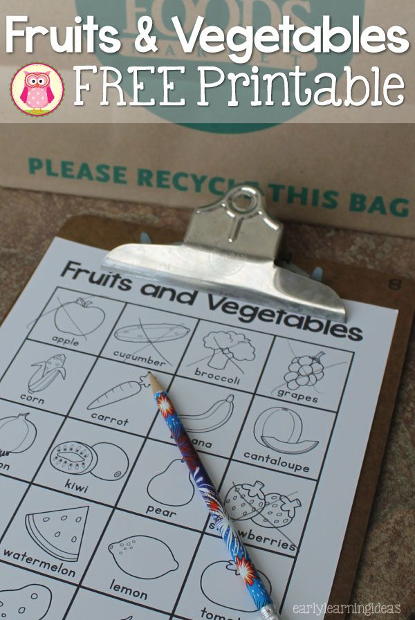 This free fruits and vegetables printable can be used for a grocery store scavenger hunt, in your writing or dramatic play centers, or can be used for a matching game.  A great addition to a healthy foods unit or grocery tot school theme.