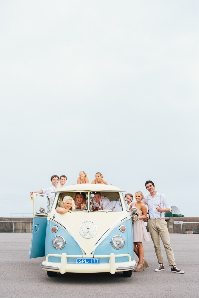 VW Kombi + awesome bridal party. love ~ newcastle wedding photography