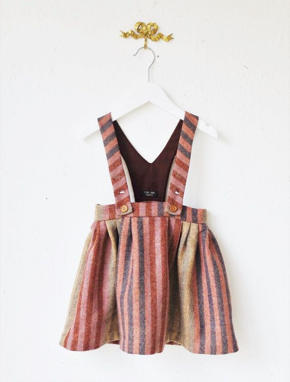 You Are Small…Girls Striped Dungaree Skirt. 100% Wool – Ana Soto Vega