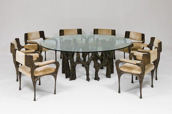 Обеденный стол и восемь Кресла (Sculpted бронза) (Стулья: PE 105) | Пол Эванс: Пересечение границ и Крафт Модернизм | Художественный музей Миченер