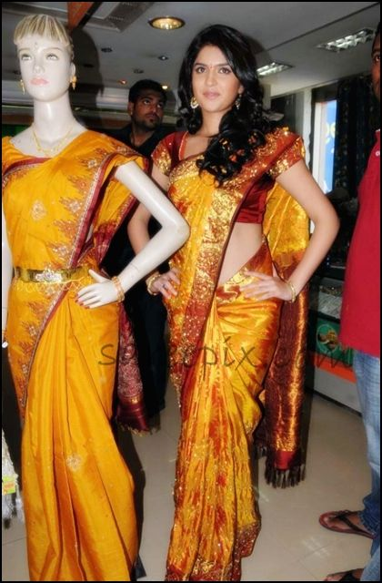 Deeksha_seth_in_golden_yellow_silk_saree_chandana_brothers_opening