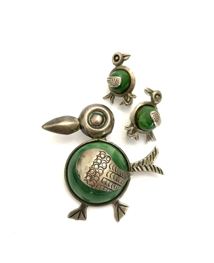 Excited to share the latest addition to my #etsy shop: Taxco Sterling Silver Bird Demi, Brooch & Earrings Set, Green Stone Bellies, Stamped Plata Silver Details, Screw Back Earrings, Gift for Her