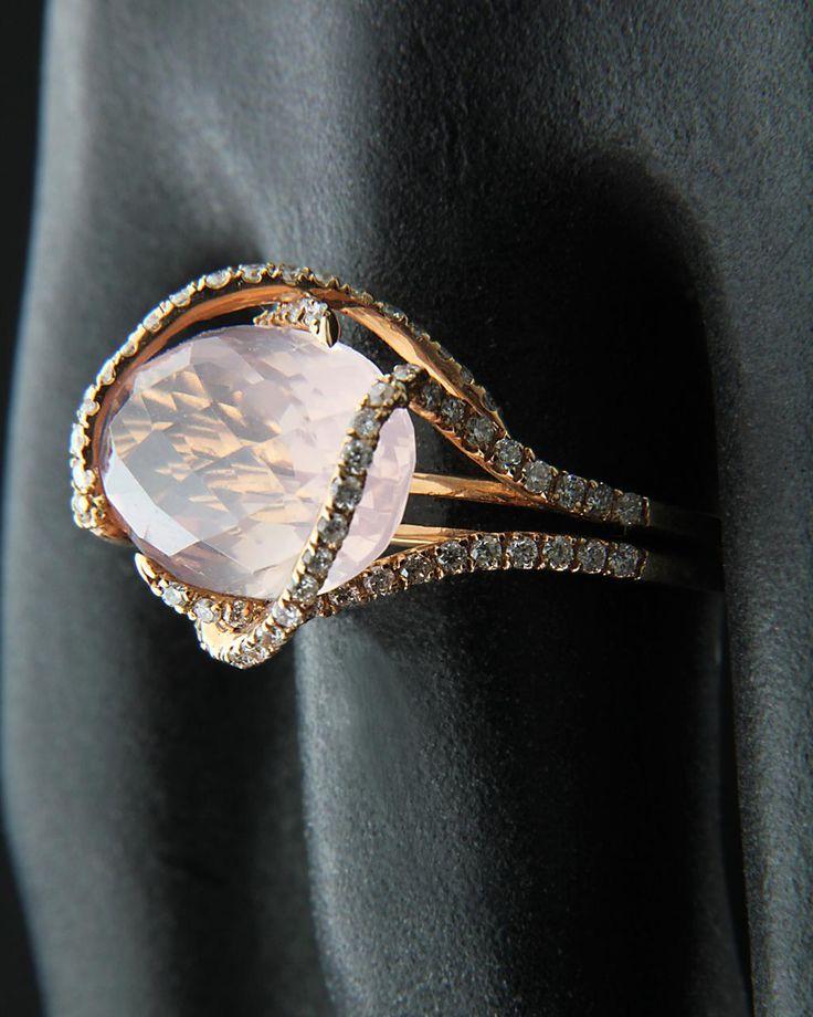 Δαχτυλίδι ροζ χρυσό Κ18 με Διαμάντια & Τοπάζι