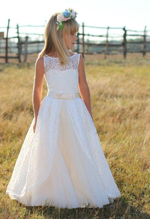 encaje vestido de niña de flor flor chica por HandmadeStoreTS