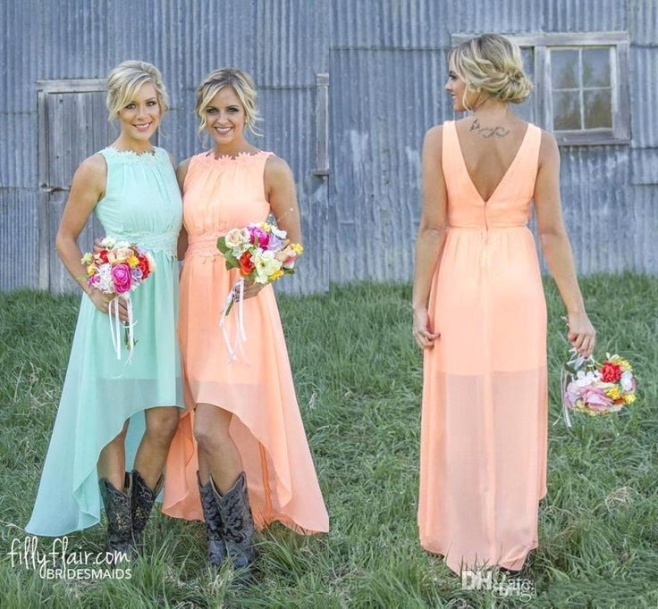 2016 Fashion Peach Chiffon Bridesmaid Dresses High Low Western Country Lace Cheap Wedding Party Prom Dress Plus Size Formal Dress Long J1020 Online with $92.15/Piece on Caradress's Store | DHgate.com