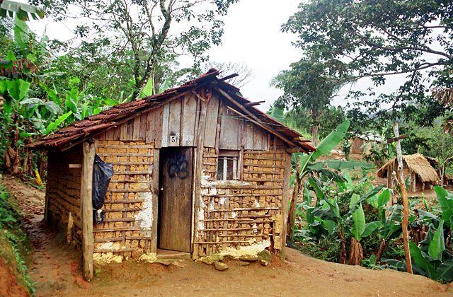 casa guarani na aldeia de mongaguá com fechamento de taipa e pau a pique e cobertura de telha cerâmica tekoa aguapeu